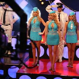 Žydroji stiuardesių uniforma