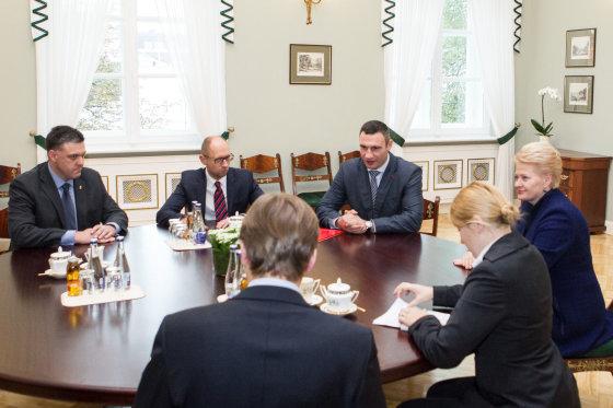 BFL/Vyginto Skaraičio nuotr./Prezidentė Dalia Grybauskaitė susitiko su Ukrainos opozicijos lyderiais