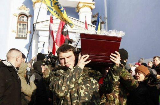 Nušauto Euromaidano protestuotojo Michaelio Žiznevskio laidotuvės