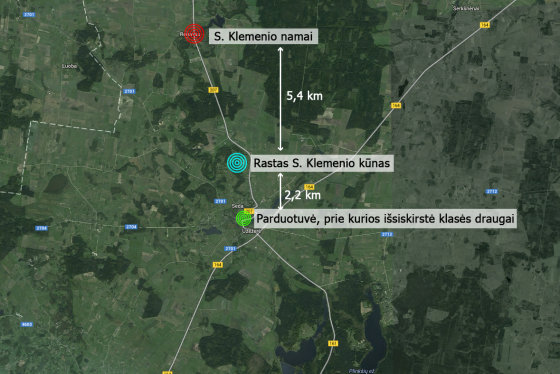 """""""Google Maps""""/15min.lt iliustr./Žemėlapyje matyti, kad Simonas pražuvo pakeliui į namus, tiesa, iki Renavo jam buvo likę 5-6 km."""