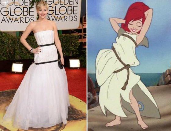"""""""Twitter"""" nuotr./Jennifer Lawrence ir Arielė"""