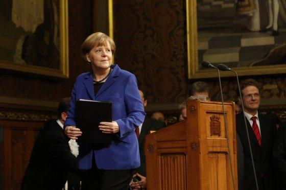 """""""Reuters""""/""""Scanpix"""" nuotr./Angela Merkel sakė kalbą Didžiosios Britanijos parlamente"""