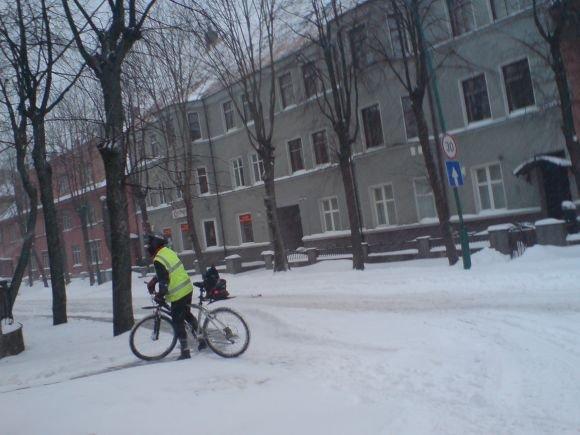J.Andriejauskaitės nuotr./Sniegas netrukdo minti pedalus.