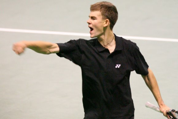Lietuvos teniso rinktinės triumfo akimirka.