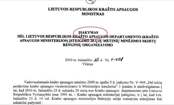 15min.lt iliustracija/Įsakymą pasiraaė kraato apsaugos ministrės įgaliotas viceministras Vytautas Umbrasas.