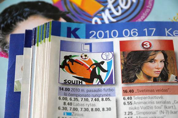 15min.lt nuotr. /Lietuvos ryte iaspausdintas Pasaulio futbolo čempionato logotipas