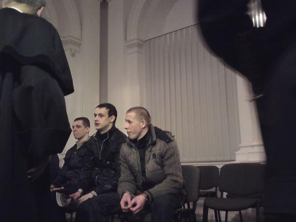 Sauliaus Chadasevičiaus/15min.lt nuotr./D.Vaisėtos nužudymo baudžiamoji byla: (iš kairės) L.Blinovas, M.Adomėnas, R.Mironiukas.