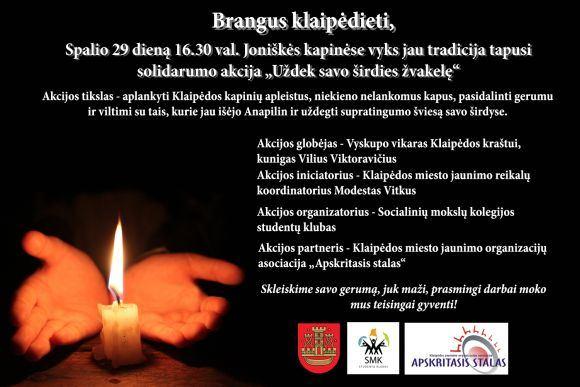 """Organizatorių inf./Solidarumo akcija """"Uždek savo airdies žvakelę""""."""