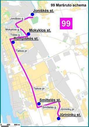Savivaldybės info./Papildomo 99 autobuso mararuto Jūrininkų  Joniakės schema.