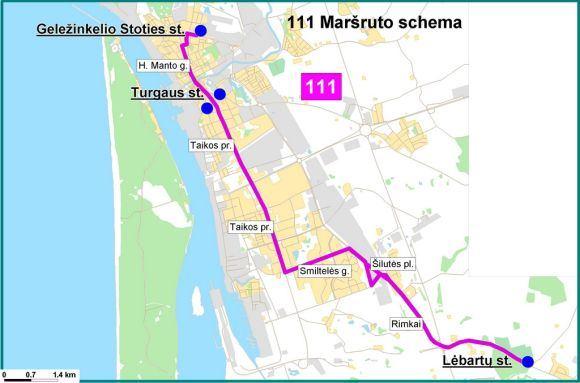 Savivaldybės info./Papildomo 111 autobuso mararuto Geležinkelio st.  Lėbartai schema.