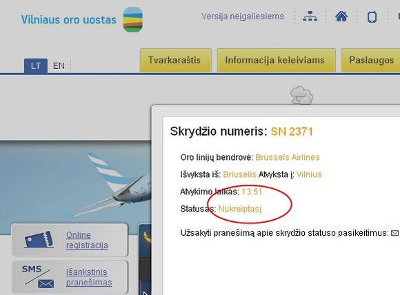 15min.lt iliustracija/Ne itin sklandus praneaimas Vilniaus oro uosto informacinėje sistemoje.