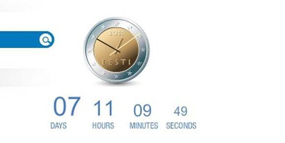 Nuotr. ia Euro.eesti.ee interneto svetainės/Laikrodis, rodantis, po kiek laiko Estija prisijungs prie euro zonos