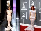 """""""Reuters""""/""""Scanpix"""" nuotr./Andrejus Pejicas ir Rihanna su tokio paties modelio Jeano Paulo Gaultier suknele"""