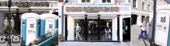 Priešais Mariaus Gelažniko parduotuvę iškilo lauko tualetai.