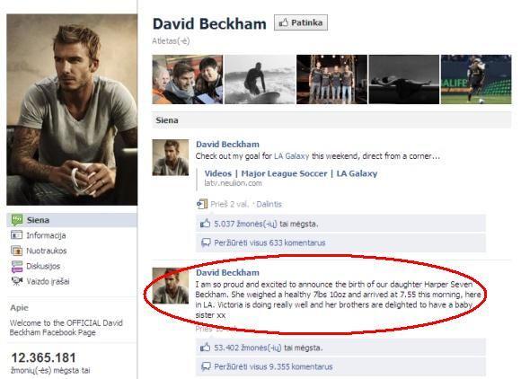 15min.lt/Davido Beckhamo įraaas socialiniame tinkle Facebook, kad naujagimei dukrai suteiktas Harper Seven vardas.