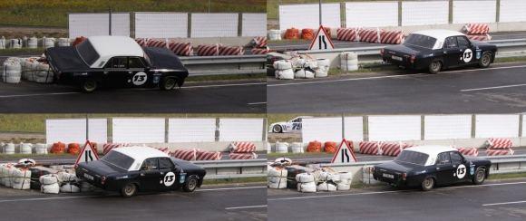 Tomo Digaičio/GAZAS.LT nuotr./Istorinių automobilių lenktynėse volga patyrė avariją