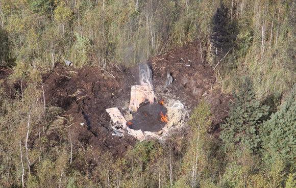 "Lėktuvo L-39ZA ""Albatros"" nuolaužos nelaimės vietoje"