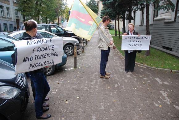 Sauliaus Chadasevičiaus/15min.lt nuotr./Eglės Kusaitės rėmėjų piketas po teismo langais