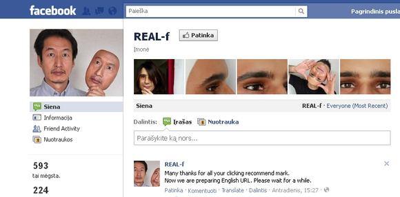 "Kompanijos ""Real-f"" ""Facebook"" profilis"