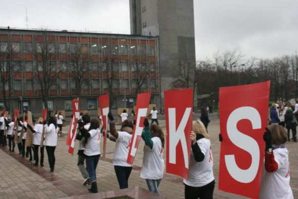 J.Andrijauskaitės nuotr./Studentų surengta akcija.