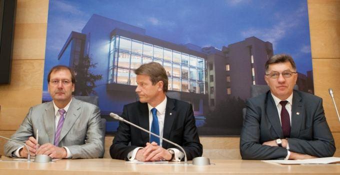 Viktoras Uspaskichas of Labor Party, Rolandas Paksas of Order and Justice Party, and Algirdas Butkevičius of Social Democrats