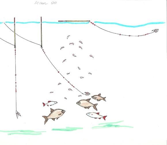 Svarelių išdėstymo schema užtikrina, kad masalas grimzta taip pat palengva kaip natūraliai skęstantys jauko kąsneliai.
