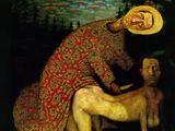 """Rimanto Dichavičiaus reprodukcija./Šarūno Saukos paveikslas """"Šv. Šarūnas nugali save""""."""