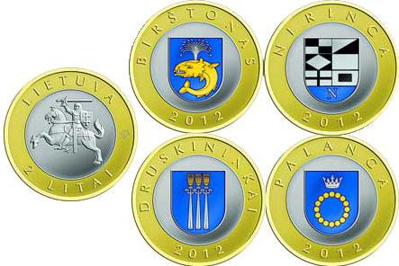 Spalvotos monetos.