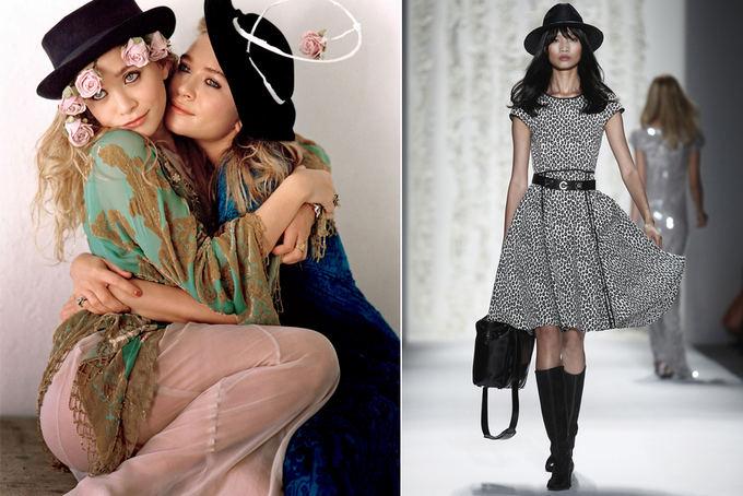Kairėje: Dvynės seserys Mary Kate ir Ashley Olsen bohemiako stiliaus atstovės, mėgstančios galvos aksesuarus. Deainėje: Rachel Zoe 2013 m. pavasario/vasaros kolekcija Niujorko mados savaitėje.