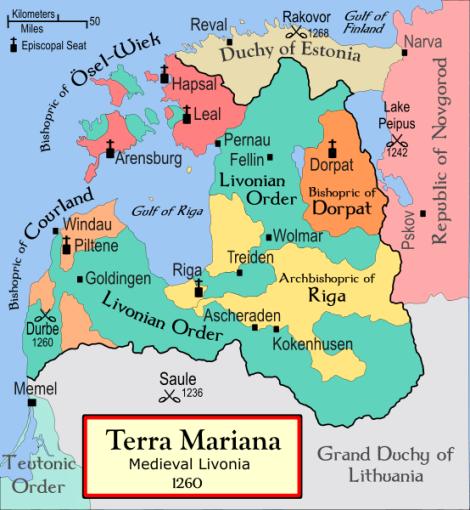 Livonijos ordino žemės 1260 m.
