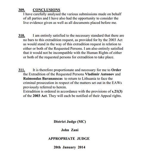 Teisėjo išvados
