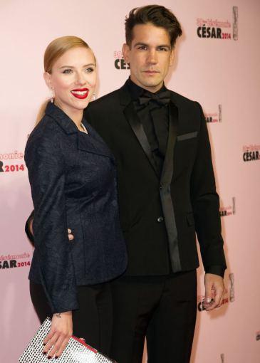 """""""Scanpix""""/""""Sipa Press"""" nuotr./Scarlett Johansson ir Romainas Dauriacas"""