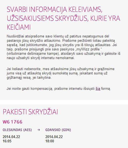 Lietuviškoje svetainės versijoje apie atšauktus skrydžius tylima