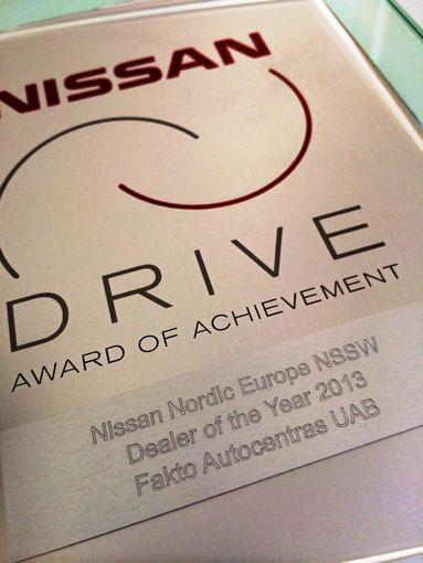 """""""Nissan"""" suteiktas apdovanojimas"""