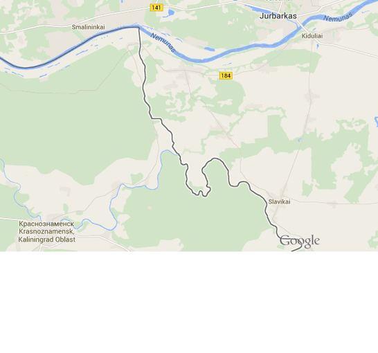 google.lt medžiaga/Sienos su Karaliaučiumi žemėlapio fragmentas