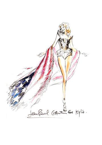 """""""Live Nation Lietuva"""" nuotr./Jeano Paulio Gaultier kurtas Kylie Minogue sceninio kostiumo eskizas"""
