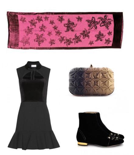 """Gamintojo nuotr./Aksomo šalikas iš """"Cartier"""", krepo ir aksomo suknelė iš """"RED Valentino"""", """"Boticca"""" delninė bei juodi Charlotte Olympia aulinukai."""