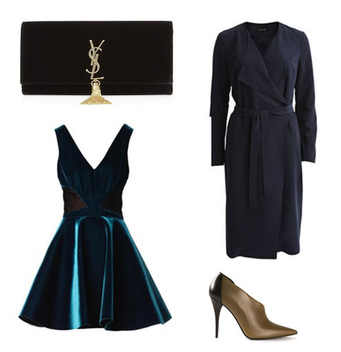 "Gamintojo nuotr./""YSL"" aksomo delninė su monograma, žaliai mėlyno aksomo Emilio de la Morena suknelė, Vila Vikalu lietpaltis ir Narciso Rodriguez aukštakulniai."