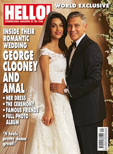 "Žurnalo ""Hello!"" viršelis/George'as Clooney ir Amal Alamuddin"