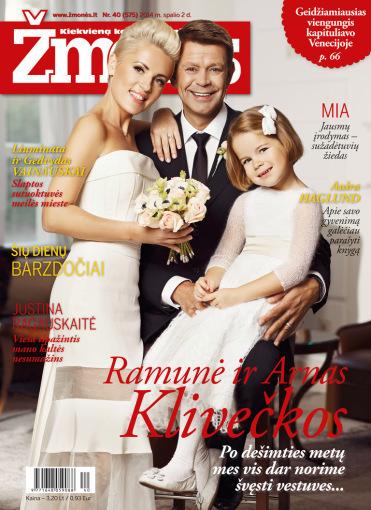 """Žurnalo """"Žmonės"""" viršelis/Ramunė ir Arnas Klivečkos su dukra"""