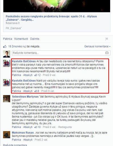 facebook nuotr./Komentarai