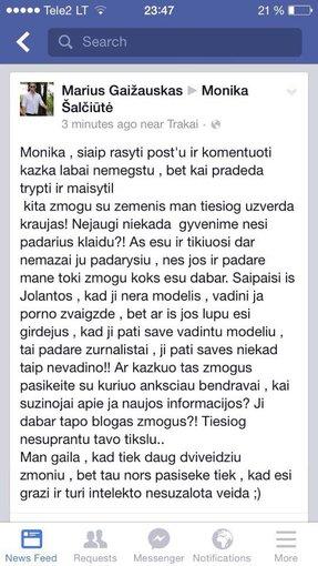 Facebook nuotr./Mariaus Gaižausko žinutė Monikai Šalčiūtei