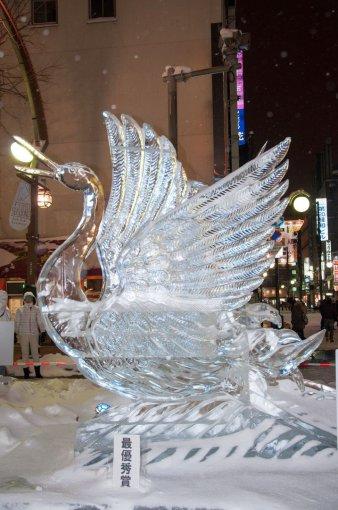 Ledo gulbė Saporo festivalyje